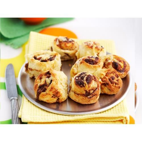 Mini vegemite and cheese scrolls recipe - Perfect for an after school snack or a tasty lunchbox treat - these cheese and vegemite embrace classic Aussie flavours in a delicious baked bread.