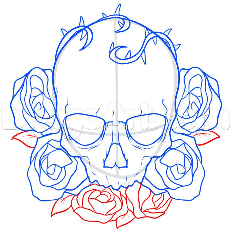 how to draw a skull and roses tattoo step 6                                                                                                                                                     More