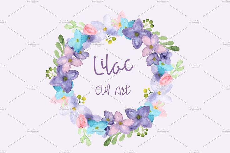 Watercolor Lilac Clip Art by Tati Bordiu on @creativemarket