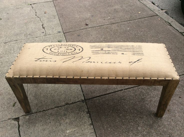 The bench seat has recycled wood base with hessian top. #revamped #upcycled #stool #itsmeagain