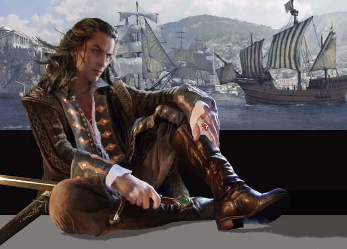 Don't know the bk (SHADOW'S RETURN by Lynn Flewelling) but he looks like a rogue.  ;)