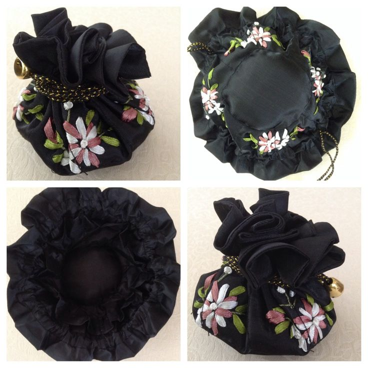 Ribbon-embroidered jewellery pull string pouch - BLACK. Has 8 internal side pockets for fine necklaces or chains, earrings & rings. The central compartment is for bangles, bracelets & larger pendant necklaces @ AUD$10.00 + postage or local pick up available.