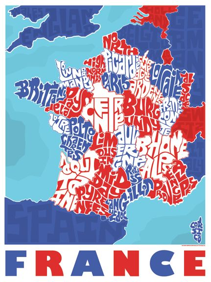 France Province Typography Map – I Lost My Dog