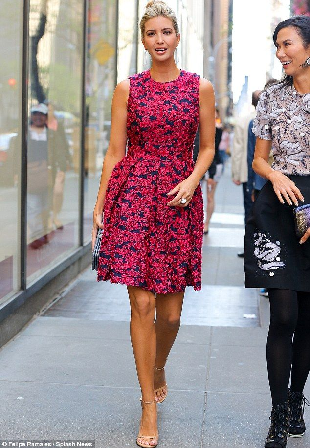Ivanka Trump is pretty in pink rocking a sleeveless floral number