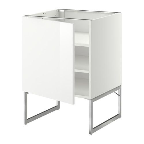 METOD Base cabinet with shelves - white, Ringhult high-gloss white, 60x60x60 cm - IKEA