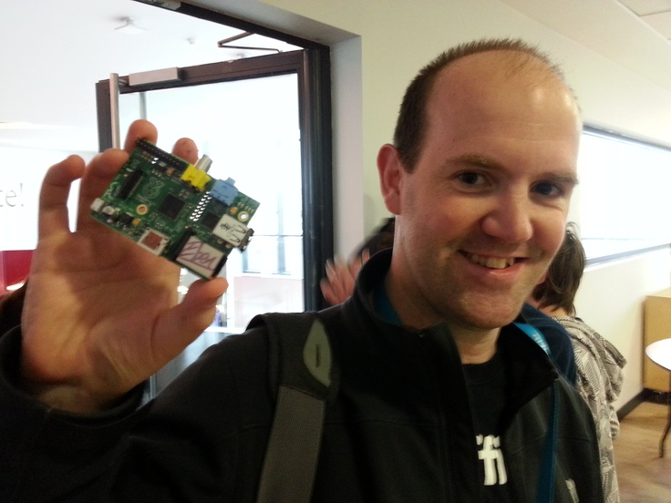Eben Upton with a signed Raspberry Pi