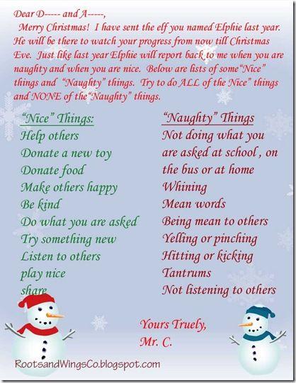 Return of Elf on a Shelf, Letter from Santa