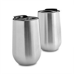 Stainless steel stemless wine glass tumbler set of 2 insulated great for travel - Insulated stemless wine glasses ...