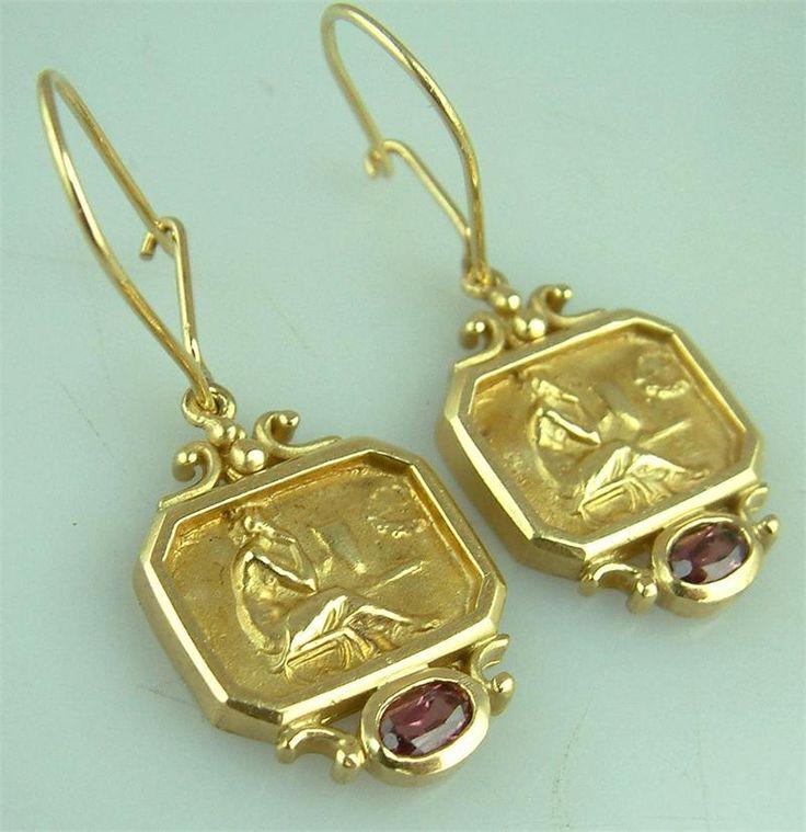 Fine Designer Signed Seidengang Tourmaline Muse Earrings Estate Jewelry 1795