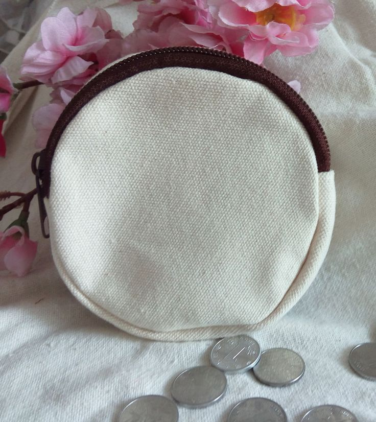 10 x DIY White Blank Canvas Round Bags Custom Coin Purses Wallets Storage Cases #Unbranded #Wedding