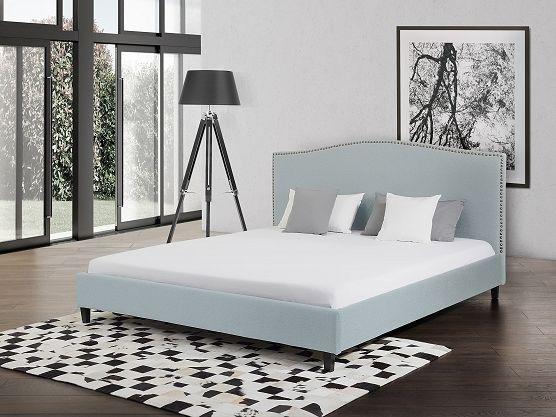 Upholstered bed - 140x200 cm - MONTPELLIER light blue