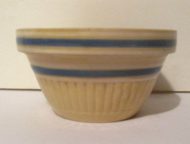 """Vintage 5 1/2"""" Yellow Ware Farmhouse Mixing Bowl Blue Stripes by Sisters2Vintage on Etsy"""