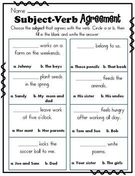 17 Best ideas about Subject Verb Agreement on Pinterest | Grammar ...