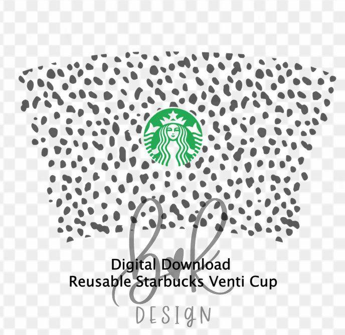 Full Wrap Dalmatian Print Starbucks Coffee Svg File Animal Etsy In 2020 Cricut Coffee Svg Starbucks