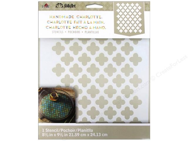 """Stenciling is the easiest way to decorate walls, furniture, paper crafts, scrapbooking projects, fabric projects, small accessories and personalizing any paintable surface. Folkart Charlotte Moorish Pattern- Laser cut stencil with a repeat design of quatrefoils. Would be a great background or overlay pattern. Measures approximately 7""""x 8.5""""."""