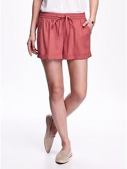"Linen Tie-Waist Shorts for Women (3 1/2"") 