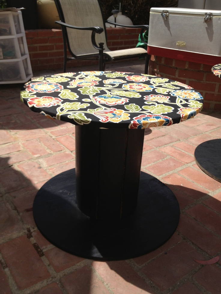 Wooden cable spool turned into a patio table i used black for Outdoor tables made out of wooden wire spools