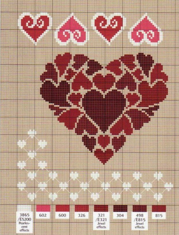 Подборка схем для вышивки ко дню святого Валентина
