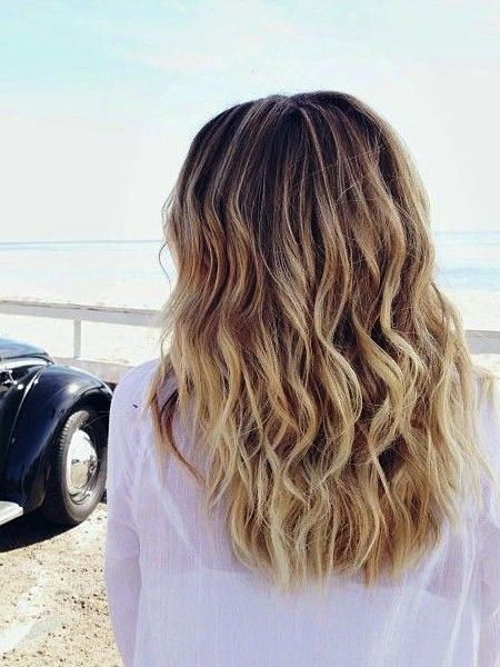Fashionable Subtle Beachy Waves with Color Midlength Hairstyles