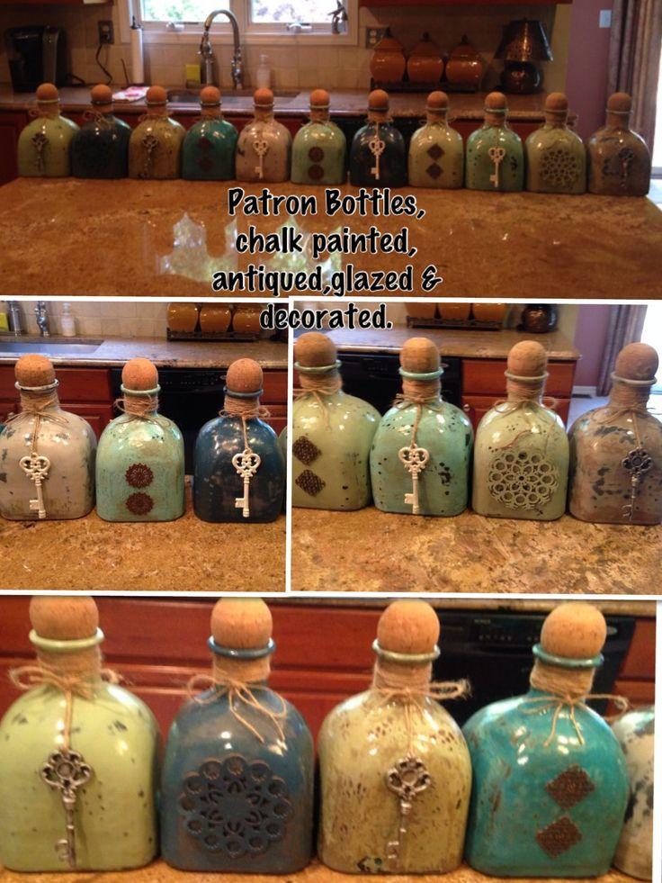 Chalk painted Patron Bottles