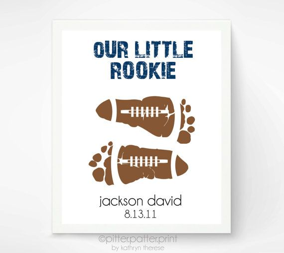 Sports Nursery Baby Footprint Football Art Print - Baby Boy Nursery, Boys Room Wall Art - Personalized Baby Footprint Art - Kids Wall Art