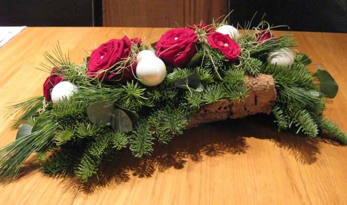 Kerst-tafelstukje op schors