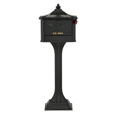 Gibraltar Mailboxes Pedestal Mailbox and Post Combo, Black PED0000B at The Home Depot - Mobile