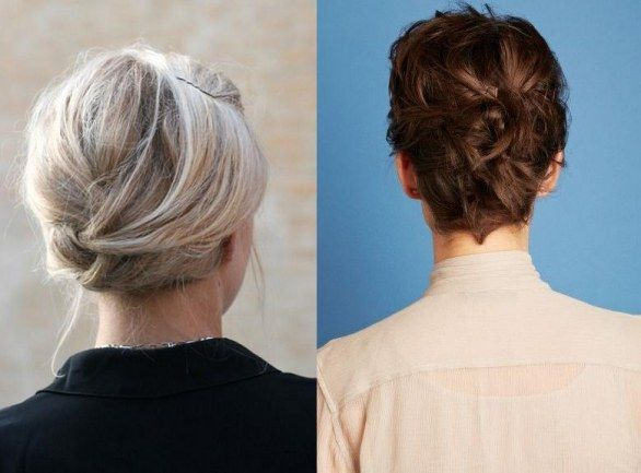 """Acconciature per capelli corti ed eleganti fai da te - And we move on to one of the most elegant hairstyles of all time: the one with her hair. Whether they are long or short, this hairstyle is really timeless. You could make a side braid to join the rest of the hair into a small bun and delicate, or you could do """"fall"""" two light strands of hair to frame the face, resulting in a truly elegant."""