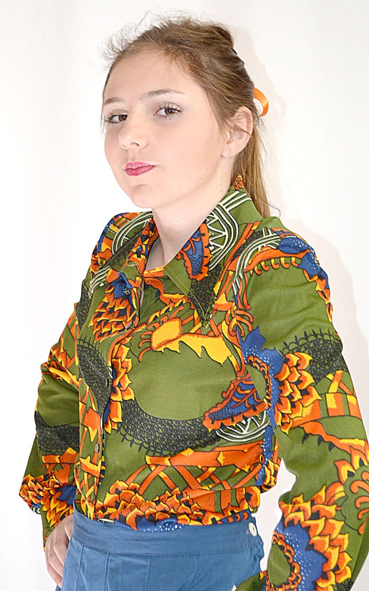 Vintage 1970s Olive Orange Blue Peter Max Inspired Print Long Sleeve Knit Shirt The Red Eye Sz M by ChrisMartinDesigns on Etsy