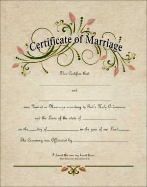 "WC 108-11x14   -- ""CERTIFICATE OF MARRIAGE""  Do you have an upcoming marriage, wedding or commitment ceremony ?  Celebrate your Holy Union with a Ceremonial Certificate, Decorative Document or Ornamental Testament to your love and devotion. Display the memory of your happy day in your home for all to see and appreciate."