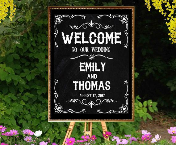 Printable chalkboard wedding welcome sign by PrintableMemoriesCo