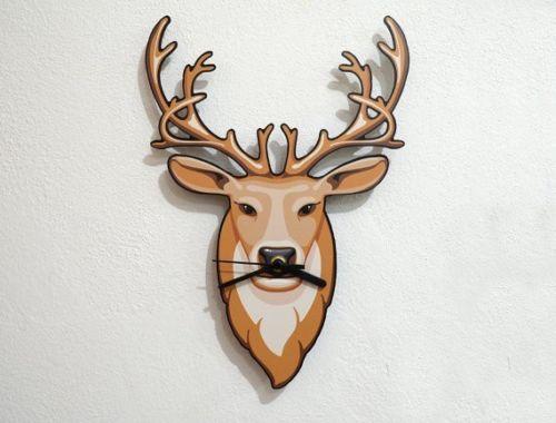 Animal Reindeer Deer Head Hipster Mustache Brown Wall Clock Home / Office Decor