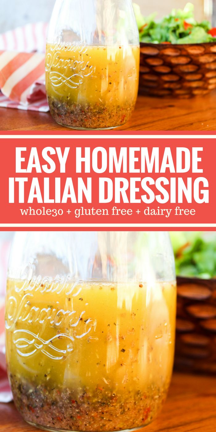 This Easy Homemade Italian Dressing is so tasty and simple! Plus it's Whole30, gluten free, sugar free, and dairy free. Perfect on salads or as a marinade! via @thewholecook
