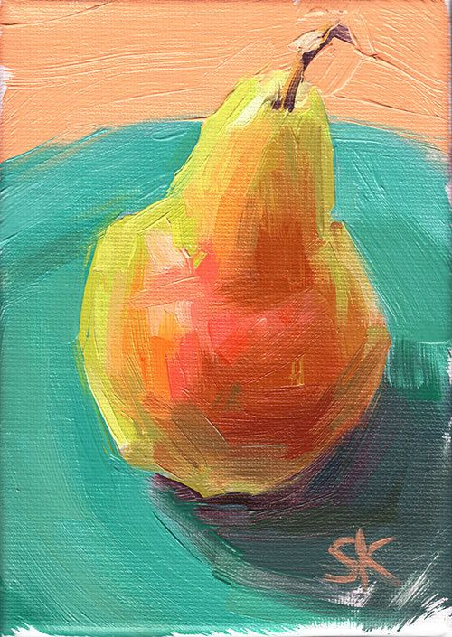 green pear kitchen art oil painting print - 5 x 7 - Pear Blush (I think I could do this myself)