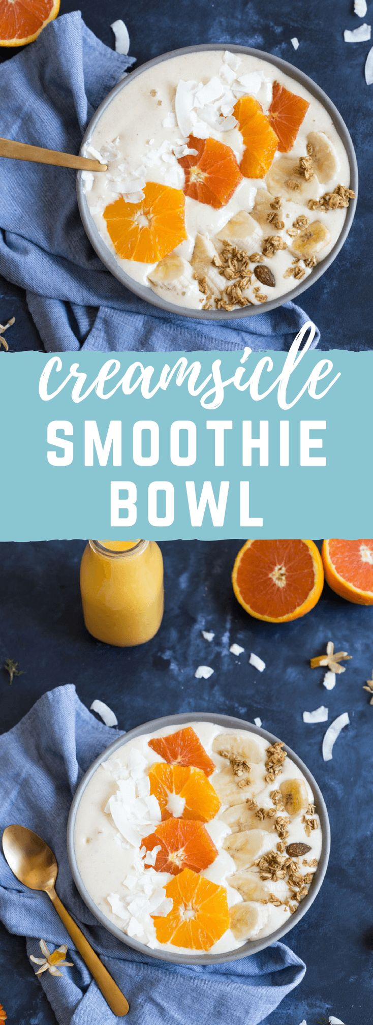 Orange Creamsicle Smoothie Bowl! Creamy, dreamy and everything you want in a smoothie that you can spoon. I love spooning my smoothies! Spooning > Sipping. @FloridaOrangeJuice #ad #AmazingInside