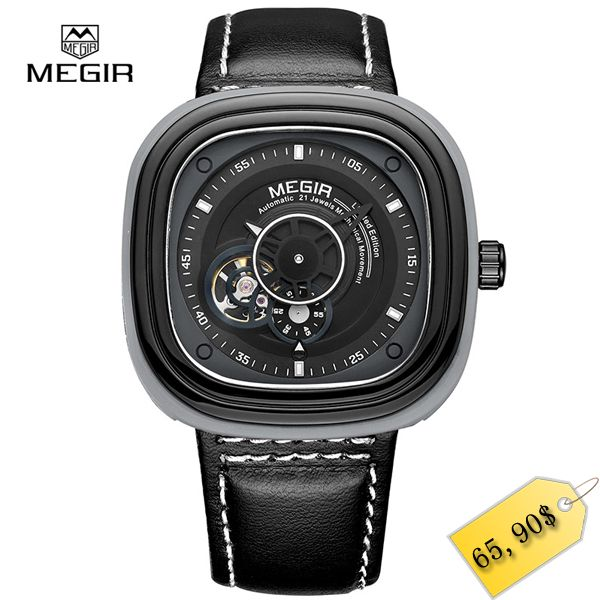 MEGIR new fashion mechanical watches men casual waterproof wristwatch man leather chronograph brand watch for male hour 3012