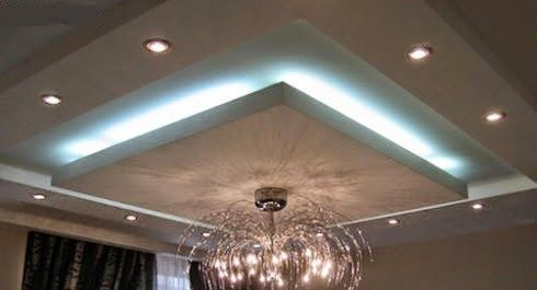 LED false ceiling lights for living room, LED strip lighting ideas in the interior