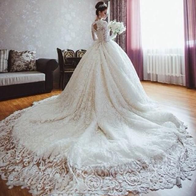 cheap michael cinco inspired designer 2015 wedding dresses with long sleeves ball gown lace royal wedding dresses for sale romantic lace up as low as