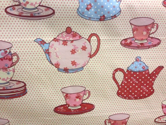 NEW!! Teapots and Cups Vintage Kitchen Cream with by TheFabricShopUK, £7.50