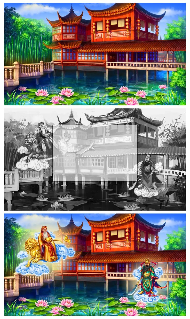 """Graphic design of background for the game slot-machine """"Chinese fortune"""" http://slotopaint.com/"""