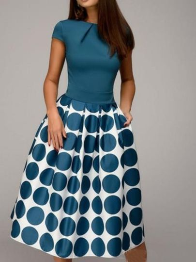 Cap Sleeve Polka Dots Women's Day Dress