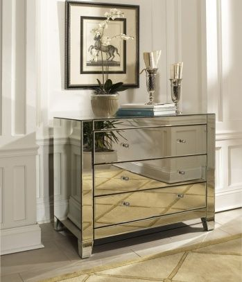 3 drawer, straight edge mirrored beveled chest