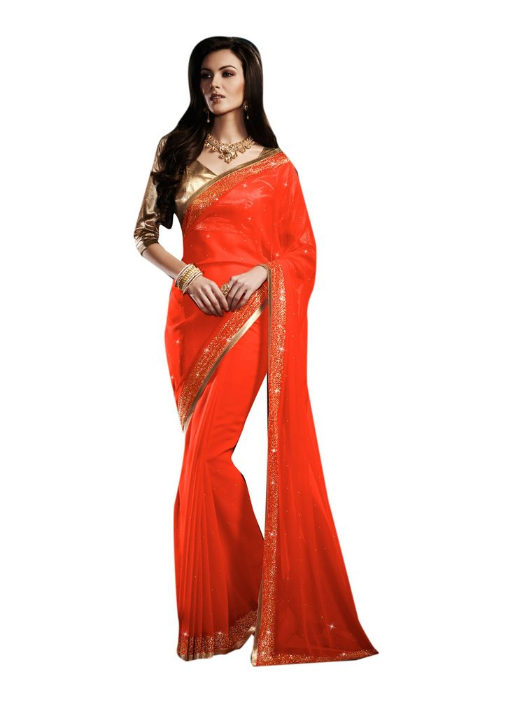 Description:- Orange color Georgette Fabric Saree comes with Golden Color Beautiful Shimmer Fabric Blouse. This Saree features Amazing Heavy Stone work at border line and Decorated stone work on all over the Saree which gives you a stunning look. The Blouse can be Stitched upto size 44. Rate:- 2975/- For bookings:- Ring or Whatsapp on +919870725209 Shipping in India:- Free Cash on Delivery:- Available in India Worldwide Shipping:- Available