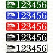 BW Boat Number/Index Number / Sticker Plate Style - colours available