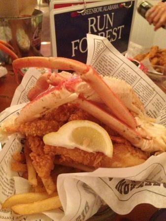Daytona Beach Florida Bubba Gump Shrimp Company Bucket of Trash with shrimp crab legs lobster tail crawfish and fries fish and coleslaw