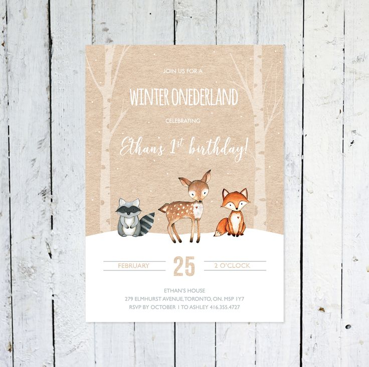 Winter Onederland Invitation, Winter Woodland Birthday Invitation, Birthday, Any Age, Fox, Snow, Deer, Kraft Paper, Printable, Printed by vocatio on Etsy https://www.etsy.com/ca/listing/571539705/winter-onederland-invitation-winter