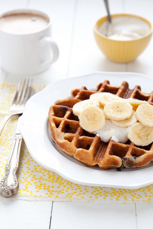 Peanut Butter Chocolate Waffles with Bananas and Honeyed Yogurt | Annie's Eats