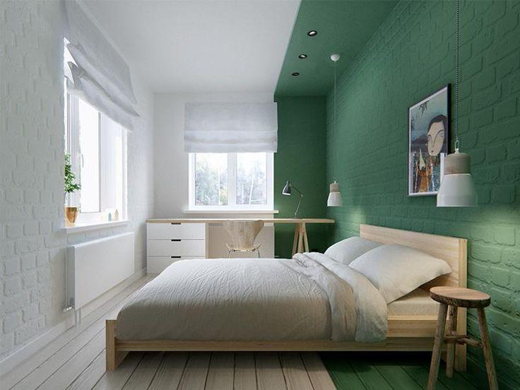 Le color blocking rend cette pièce dynamique et nul besoin d'ajouter des tonnes d'éléments déco : c'est le vert qui s'occupe de tout - via desiretoinspire.net