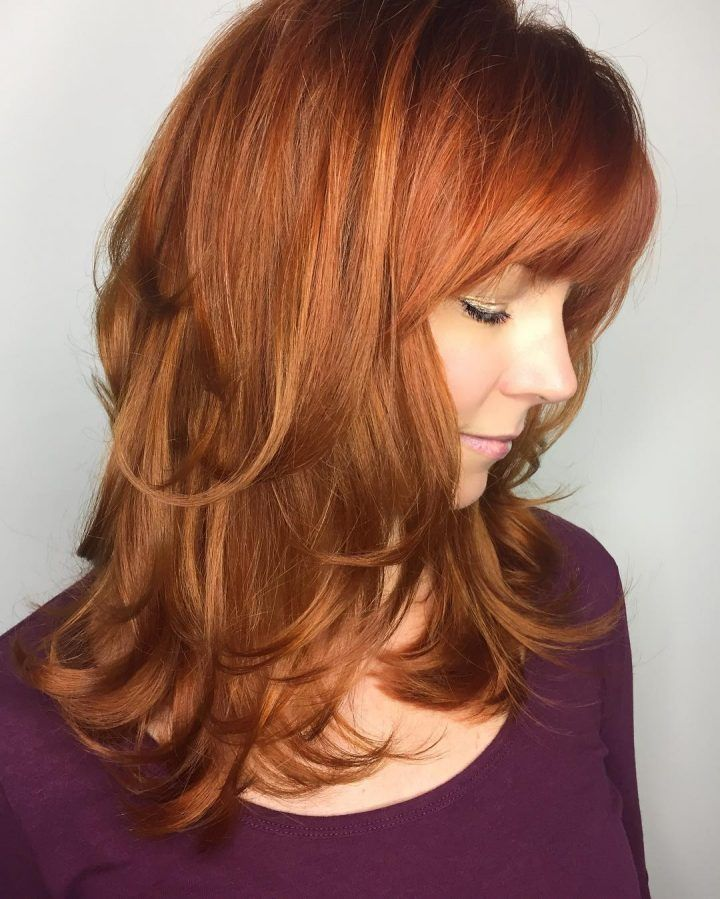 Layered Hairstyles With Bangs - Red Feathered Out Layers