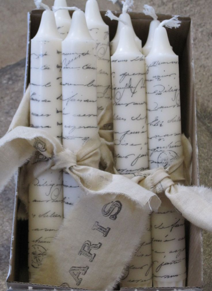paris script hand-stamped shabby chic candles featured in Good Housekeeping. $6.00, via Etsy.  Cute gift for Christmas or anytime.